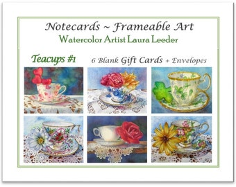 Teacup Series 1 -  6 Blank Notecards, Party Favors