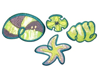 ID 0353ABCD Set of 4 Exotic Seashell Patch Ocean Embroidered Iron On Applique
