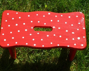 Pink with gray dots ~ Stool footstool