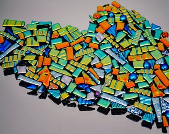 Dichroic Glass Tiles, Mosaic Bits & Pieces, Decorative Tiles, Textured and Smooth Tiles, Tiles in Electric Bright Colors