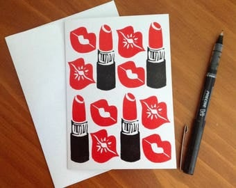 Red Lips and Lipstick Greeting Card (blank)