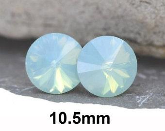Pacific Opal Studs, Opal Earrings, Swarovski, Rhinestone Studs, Rivoli Crystal Studs, Rhinestone Earrings, 10.5mm Earrings, Rostone