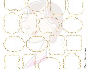 Glitter Frame Clipart Gold Sparkle Border Frames LARGE 10 INCH Digital Download Commercial Use DIY Wedding Invitations Png Files 10280