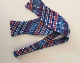 Men and Teen's Navy and Red Plaid Bow Tie