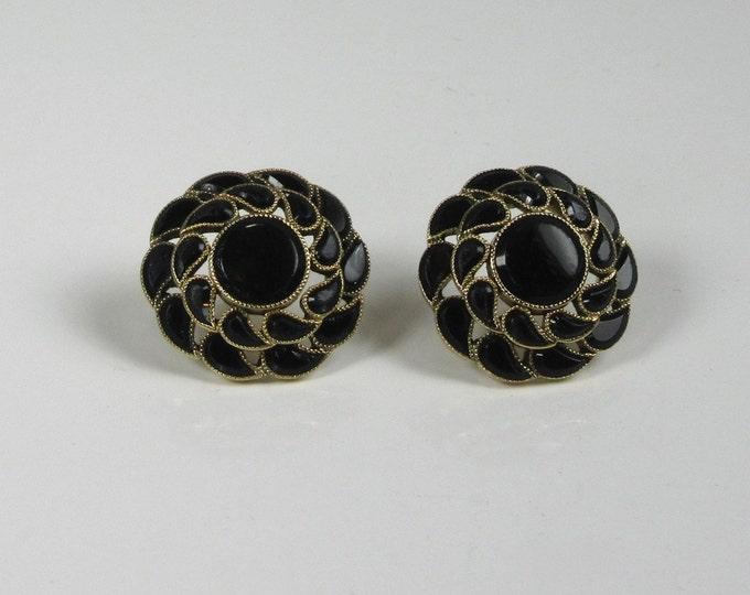 Victorian Black Onyx Earrings; Pierced Black Onyx Earrings; Antique Black Onyx Earrings; Antique Pierced Earrings, Round Black Onyx Earrings