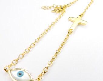 Cross and Evil Eye Bracelet in Gold Plate, Cross Charm, Evil Eye Charm,