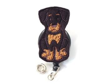 Doberman Puppy - Felt Badge Holder - Cute Dog Badge Reel - Retractable Badge Clip - Feltie Badge Pull - Nurse Badge Reels - BadgeBlooms