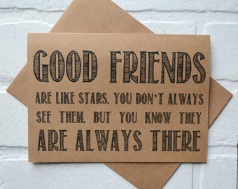 GOOD FRIENDS are like stars BRIDESMAID card good friends are always there bridal party card bridesmaid proposal funny wedding party cards