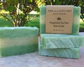 Peppermint Tea Tree Wake-Up Bar, Natural Handmade Soap, Cold Process Soap