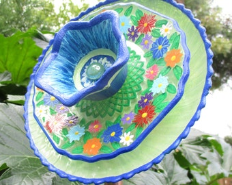 Outdoor Garden Decor - Hand Painted Glass Flower - Garden Sculpture - Yard Art - Lawn Ornament - Recycled Repurpose Upcycled -  Yard Art