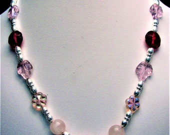 Burgundy and White Lampwork Beaded Necklace with Pink Glass Leaves - Item 335