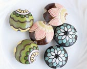 Golem Design Studio Stoneware Lentil Beads, Brown Pink Flowers, Green Yellow Flowers or Turquoise Peacock Lotus 23mm, set of (2) Your Choice