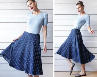 MILA SCHON Vintage blue denim flared patchwork pleated over the knee length high waist midi skirt S M
