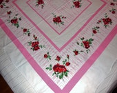 SALE - Valentines Promotion / Vintage / FASHION MANOR / Wrought Iron, Tablecloth, Pink, Iron Gate / Red Roses / Cottage Chic / Rustic