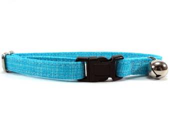 Cat Collar, Small Dog Collar, Blue Pool Crosshatch