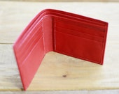 2 CUTOM WALLET Men's Red and blue Leather wallet with card slots and removable ID flap