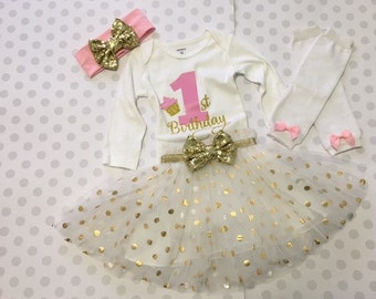 Girls First Birthday outfit, tutu outfit, birthday tutu, first birthday outfit, first birthday tutu, FREE SHIPPING
