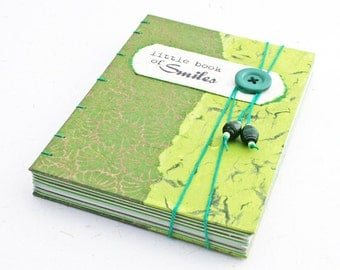Little Book of Smiles green coptic journal with envelopes / Eco friendly keepsake journal / memory book / recycled journal