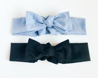 Ladies headband knotted bow denim chambray or black-ladies head wrap-knotted headband-bow headband-stylish-hair accessory-Love Factory ny