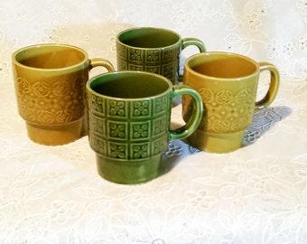 Vintage Mid Century Stacking Mugs -Made in Japan