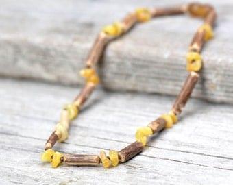 Baltic Amber teething necklace with hazelwood