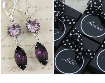 Marquise Purple Bridesmaid Earrings Set Of 3 4 5 6 7 8 9 10 Pairs Lilac Amethyst Bridal Party Jewelry Gift Navette Swarovski Clip On Avail