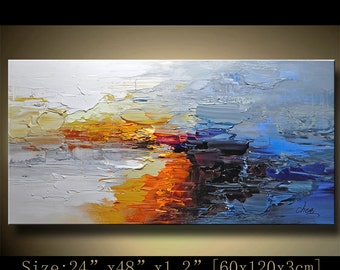 Abstract Large ORIGINAL Painting Modern Textured Painting,  Palette Knife, Home wall art Decor, acrylic art Painting on Canvas  by Chen 1201