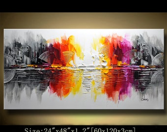 Abstract Wall Painting, expressionism Textured Painting,Impasto Landscape Painting  ,Palette Knife Painting on Canvas by Chen 0406