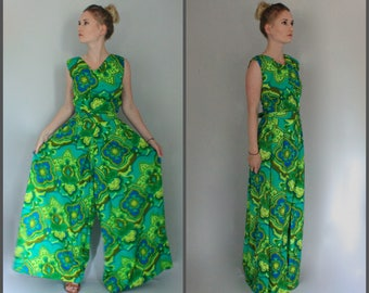 Floral Jumpsuit Women Vintage Summer Greenery 70s Boho Tropical Print Jumpsuit Barkcloth - Small S