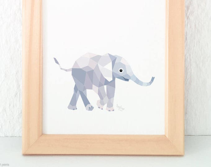 Baby elephant print, Elephant art for children, Young elephant illustration, Elephant nursery art, Baby bedroom art, Nursery baby animals,
