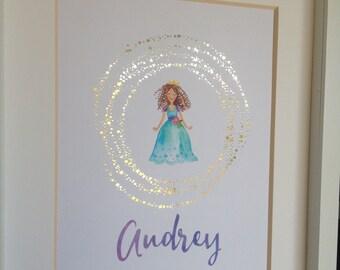Real Gold Foil Princess Nursery Decor Custom Name Wall Art Watercolor Princess Girl's Bedroom Decor Custom Baby Gift 8x10 New Baby Name Gift