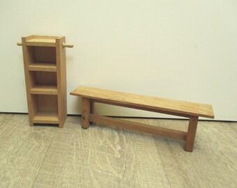 Vintage dollhouse wooden furniture, 1970, Toy, Jouet, Meuble poupée bois, Banc Cuisine Kitchen