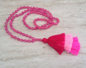 Pink Layered Tassel Necklace Agate Tassel Necklace Hand Knotted Beaded Tassel Necklace Statement Necklace Long Tassel Stack Necklace
