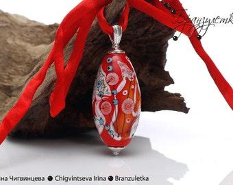 Luxury - Pendant lampwork bead red burgundy gray murrini flowers - oval shape - silk cord