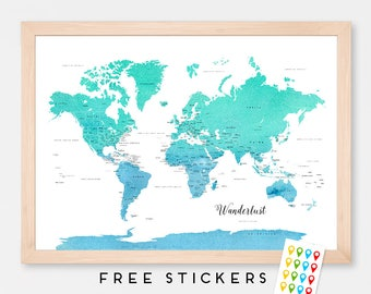 Custom World Map Art Print Poster Countries Names Blue - Mint Watercolor - Travel Map World Map - Medium - XLARGE
