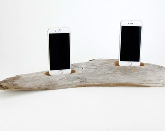 Docking Station for 2 iPhones, iPhone dock, iPhone Charger, iPhone Charging Station, driftwood dock, wood iPhone dock/ Driftwood-No. 961