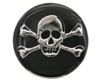 2 Dill Skull & Crossbones 1 inch ( 25 mm ) Dill Metal Buttons Silver and Black Color