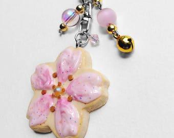 Kawaii Sakura/Decoden/Magical Girl/Fairy Kei/Japanese Cherry Blossom Iced and Sprinkled Sugar Cookie Bell Bag Charm