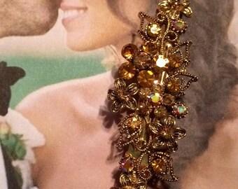 HOLIDAY SAVINGS Bridal Hair Jewelry 1980's Gold Amber Citrine Honey Rhinestone Crescent Holiday Barrette