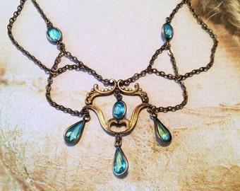 1920 Czech Necklace Vintage Art Deco Aqua Turquoise Blue Crystal Festoon Bib Teardrop