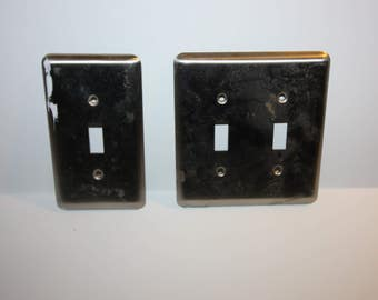 Vintage Solid Metal Switch Plate, Light Switch Cover, Metal Complete With Hardware, Silver Tone Metal,  Home Decor, Double and single