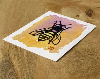 Watercolor block print card - day bee