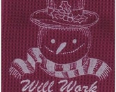 ON SALE Will Work For Freezer Space Snowman Microfiber Waffle Weave Towel - Burgundy