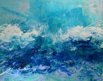 SALE ART HUGE Original Seascape Art by Caroline Ashwood - Textured and contemporary abstract painting on canvas - Free Shipping