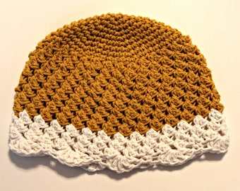 Girls cotton hat -mustard yellow and cream scallop and lace hat- cotton beanie - kids hat - READY TO SHIP