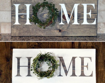 HOME wood sign, Farmhouse Sign, Kitchen Sign, Painted Wood Sign, Rustic Wood Sign, Floral Wreath Sign