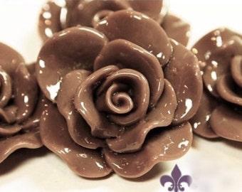Resin Cabochon - 5pcs - Flower Cabochon - Mocha Brown Flower Cabochon - Cabochon - SW005-3