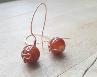 Rusty Orange Copper Drop Earrings