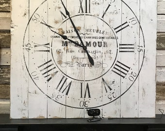 Large wooden clock, pallet style clock, french country wall clock, large wall clock