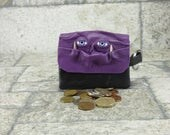 Zippered Coin Purse Purple Black Leather Change Purse Monster Face Pouch Key Ring Harry Potter Labyrinth